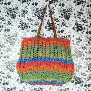 Cappelli Bags - Cappelli rainbow stripe zippered straw tote bag